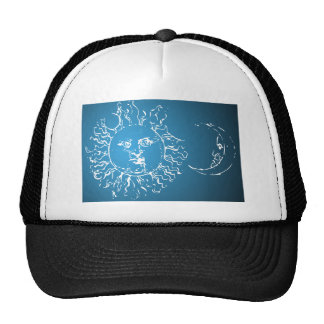Sun and Moon Blue and White Trucker Hat