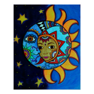 SUN AND MOON BY PRISARTS POSTER