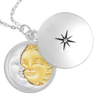 SUN AND MOON CHARM ROUND LOCKET NECKLACE