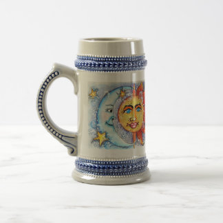 Sun and Moon Design Beer Stein