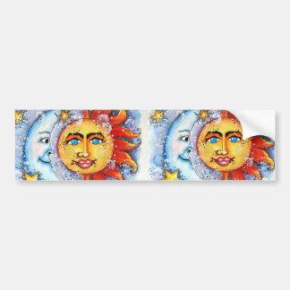 Sun and Moon Design Car Bumper Sticker