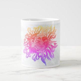 Sun and moon design large coffee mug