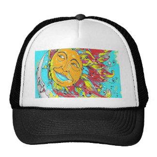 Sun and Moon Design Turquoise Trucker Hat
