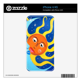 Sun and Moon Design Whimsy Decal For The iPhone 4S