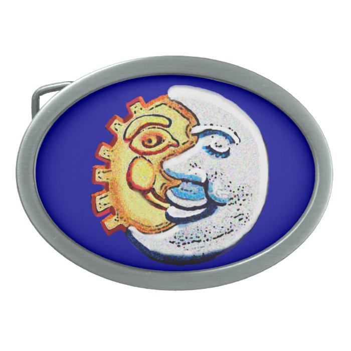 sun and moon faces oval belt buckle