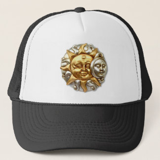 SUN AND MOON FUSION METALLIC DESIGN TRUCKER HAT