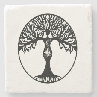 Sun and Moon Goddess Tree Stone Coaster