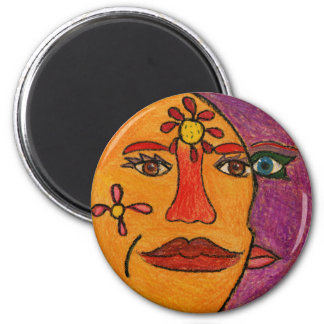 Sun and Moon Hand-Drawn Artwork Refrigerator Magnets