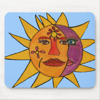 Sun and Moon Hand-Drawn Artwork Mouse Pad