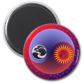 Sun and Moon in Balance 2 Inch Round Magnet