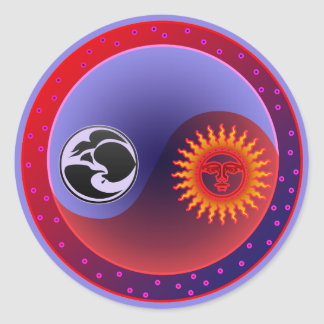 Sun and Moon in Balance Classic Round Sticker