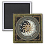 Sun and Moon Pagan Wheel 2 Inch Square Magnet