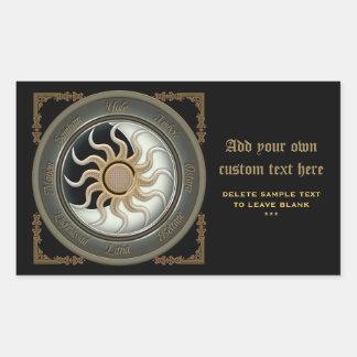 Sun and Moon Pagan Wheel Bookplate Stickers