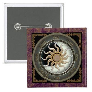 Sun and Moon Pagan Wheel Pin