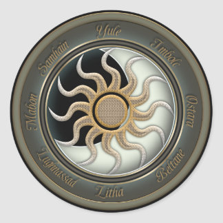 Sun and Moon Pagan Wheel Classic Round Sticker