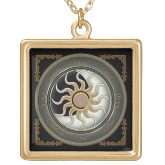 Sun and Moon Pagan Wheel Gold Plated Necklace