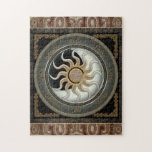 """Sun and Moon Pagan Wheel Jigsaw Puzzle<br><div class=""""desc"""">Make a note of all the sabbats and solstices throughout the year with my sun and moon wheel of the year design. A pretty decorative jigsaw puzzle to create and keep, or a very unique gift idea. Purchase as seen or choose your own border colour for this item in the...</div>"""