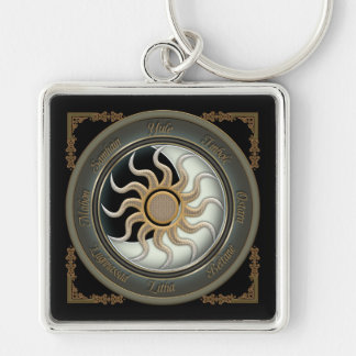 Sun and Moon Pagan Wheel Keychain