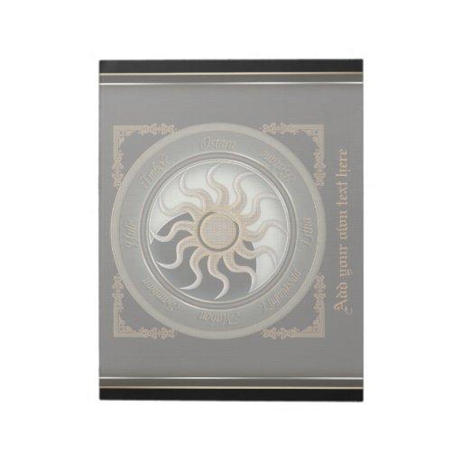 Sun and Moon Pagan Wheel Large Notepad