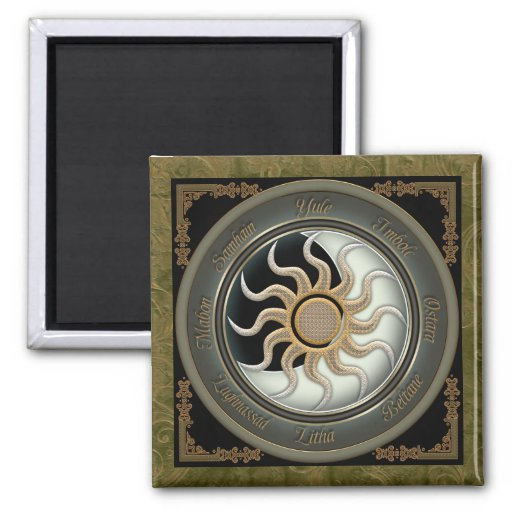 Sun and Moon Pagan Wheel Refrigerator Magnet