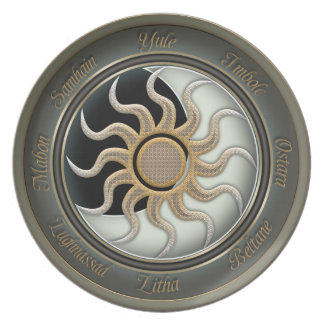 Sun and Moon Pagan Wheel Melamine Plate