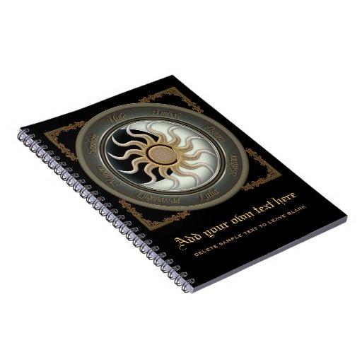 Sun and Moon Pagan Wheel Spiral Note Book