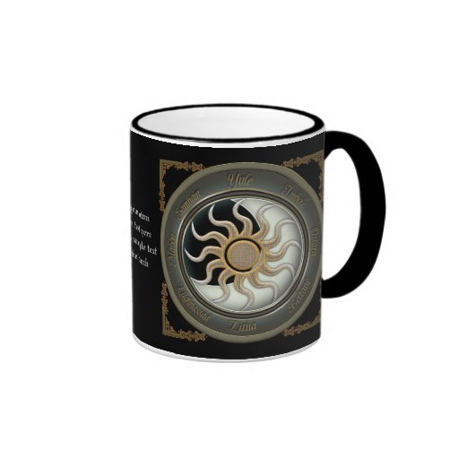 Sun and Moon Pagan Wheel Personalized Mugs