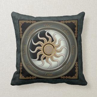 Sun and Moon Pagan Wheel Throw Pillow