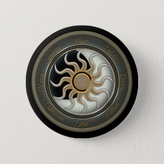 Sun and Moon Pagan Wheel Pinback Button