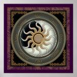 Sun and Moon Pagan Wheel Poster