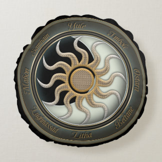 Sun and Moon Pagan Wheel Round Pillow