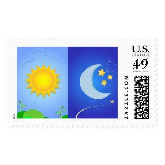 sun and moon postage