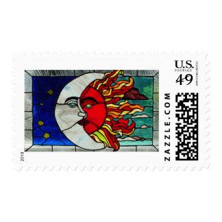 Sun and Moon Postage Stamp