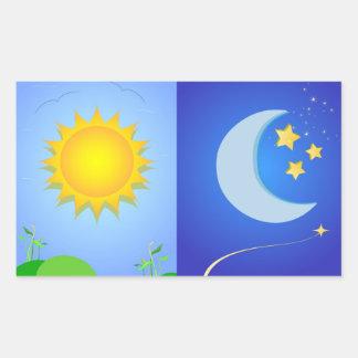 sun and moon rectangular sticker