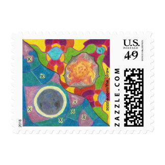 Sun and Moon Stylized Postage Stamps