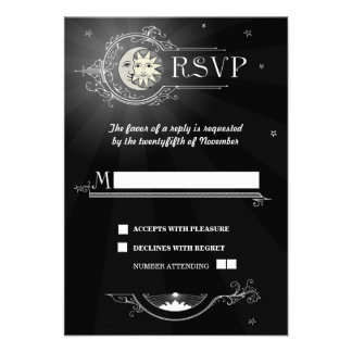 Sun and Moon Wedding RSVP Card Announcement
