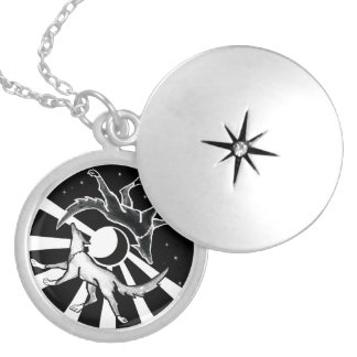 Sun and Moon Wolves Silver Plated Necklace