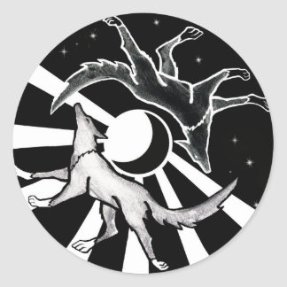 Sun and Moon Wolves Classic Round Sticker