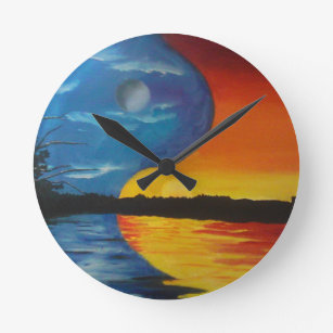 Yin Yang Moon Sun Wall Clocks Zazzle