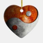 Sun and Moon Yin Yang Double-Sided Heart Ceramic Christmas Ornament