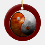 Sun and Moon Yin Yang Double-Sided Ceramic Round Christmas Ornament