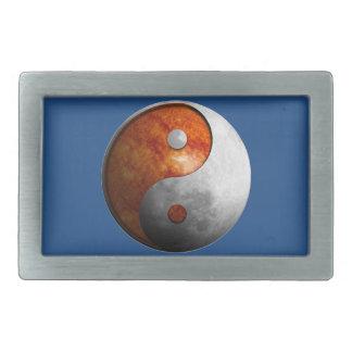 Sun and Moon Yin Yang Rectangular Belt Buckle