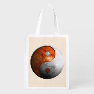 Sun and Moon Yin Yang Reusable Grocery Bag