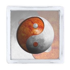 Sun and Moon Yin Yang Silver Finish Lapel Pin