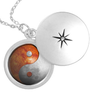 Sun and Moon Yin Yang Silver Plated Necklace
