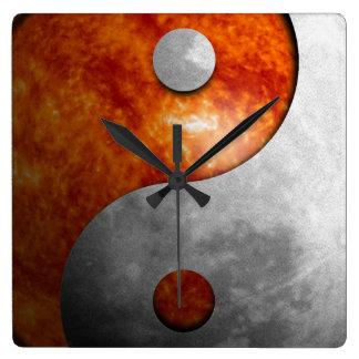 Sun and Moon Yin Yang Square Wall Clock