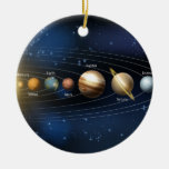 Sun and planets of the solar system Double-Sided ceramic round christmas ornament