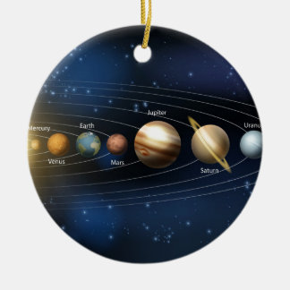 Sun and planets of the solar system christmas tree ornament