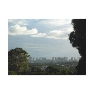 Sun and Rain over Manoa and Waikiki. Canvas Print