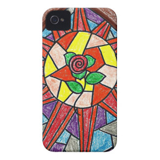 Sun and Rose Stained Glass Art iPhone 4 Case